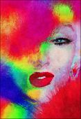 foto of blonde  - Abstract blonde with splashed paint - JPG