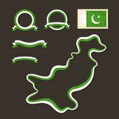 stock photo of pakistani flag  - Outline map of Pakistan - JPG