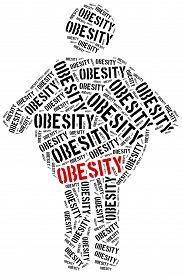 foto of obese children  - Word cloud illustration related to obesity - JPG