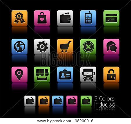 Online Store Icons // ColorBox Series ---- The Vector file includes 5 color versions for each icon in different layers --