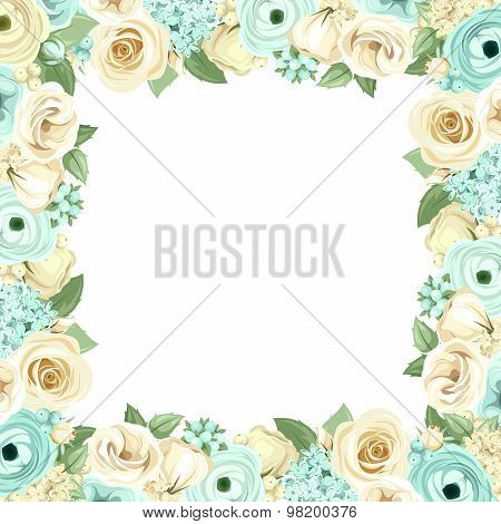 Frame with blue and white flowers. Vector illustration.