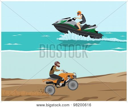 The man is engaged in extreme sports. Quad bike and watercraft. Vector illustration