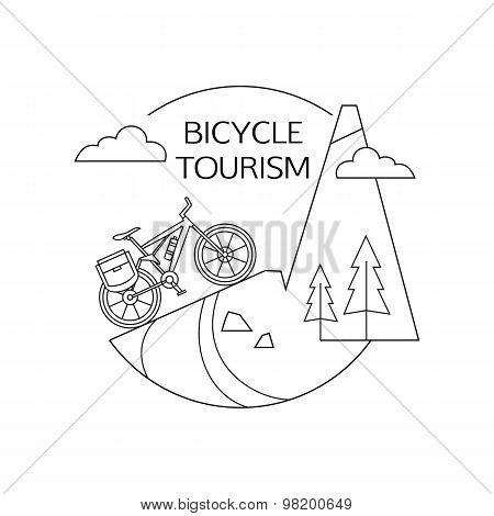 Bicycle tourism outline background. Minimalistic linear travel vacation landscape with bicycle.