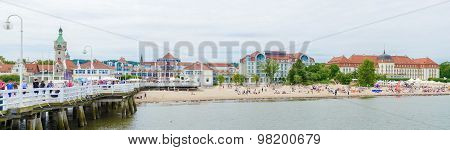View From The Pier At Sopot With Summer Clouds, Poland