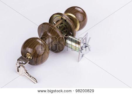 Door handle with lock. Door fittings,