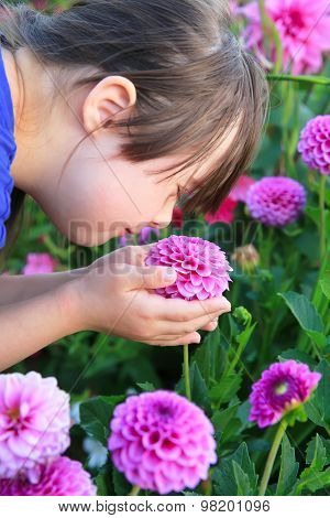 Little Girl Enjoy With The Flowers