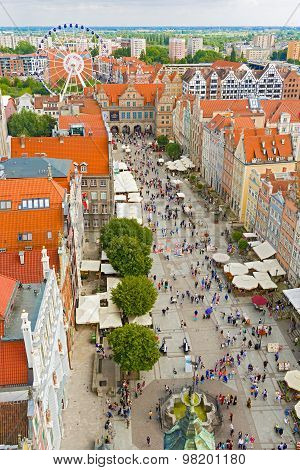 Aerial View At The Old City In Gdansk, Poland