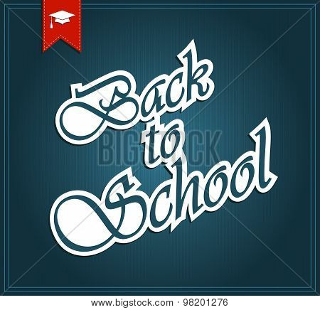 Back to School blue poster. Ribbon with graduate cap