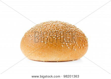 Bun With Sesame Seeds Isolated  On A White Background