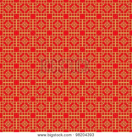Golden seamless Vintage Chinese window tracery square round geometry pattern background.