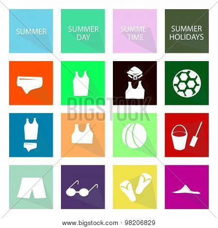 Illustration Set Of 16 Summer Season Icon