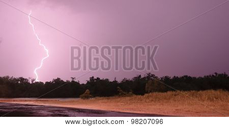 Deep South Thunderstorm Lightning Strike Over River