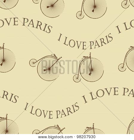 Vintage Bicycle Paris seamless