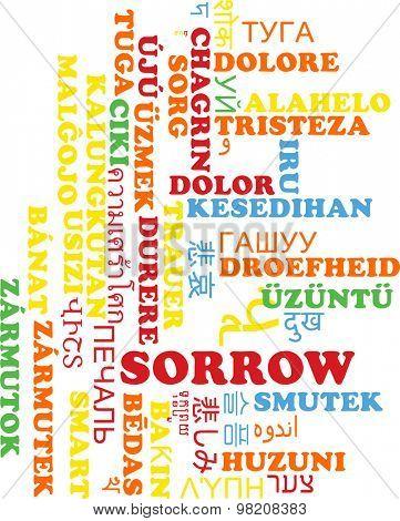 Background concept wordcloud multilanguage international many language illustration of sorrow
