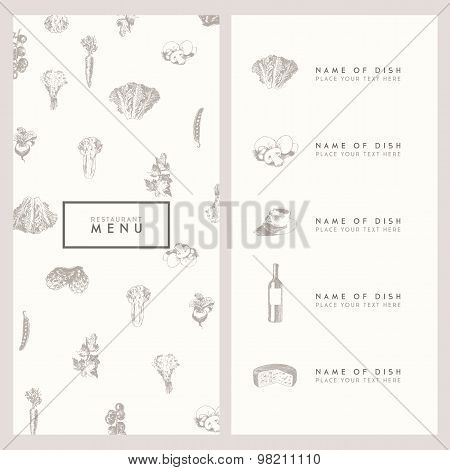Trendy restaurant menu design vector hand drawn