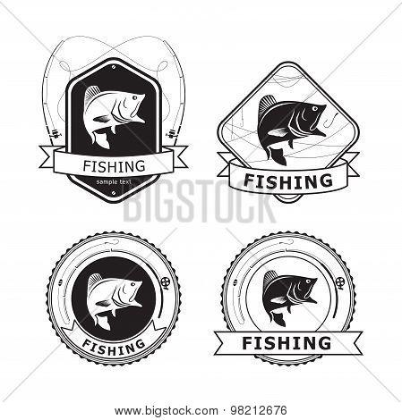 Fishing Bass Label, vector