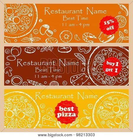 Set discount fliers for pizzeria and restaurants