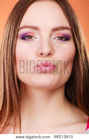 Closeup Young Woman Face Kissing