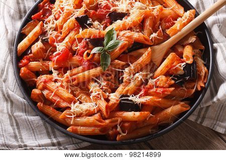 Pasta Alla Norma. Penne With Eggplant And Tomatoes Horizontal