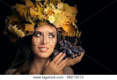 Autumn Woman Beauty Portrait with Grape