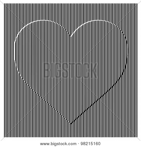 Illustration Vector Seamless Vertical Straight Stripes Pattern With Heart Shape.