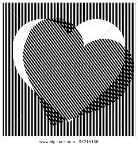 Illustration Vector Seamless Vertical Straight Stripes Pattern With Heart Shape
