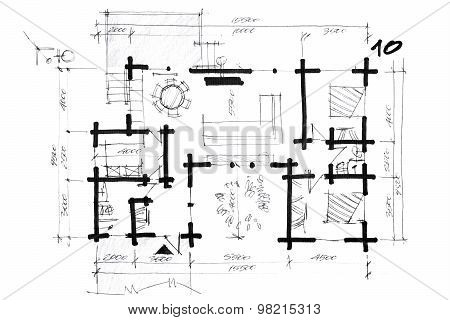 Sketch Of A House Arrangement Plan
