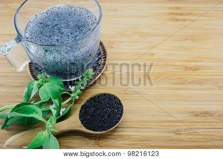 Gelatinous Basil Seeds