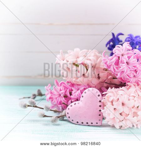 Background With Fresh Flowers Hyacinths And Decorative  Pink Heart