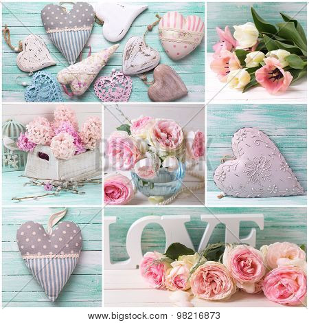 Collage With Flowers Roses, Hyacinths, Tulips And Decorative Hearts