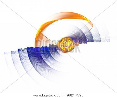 Abstract Fractal Design. Rotating Circle On White.