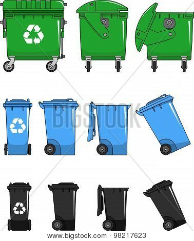 Set Of Different Types Dumpsters Isolated On White Background In Flat Style
