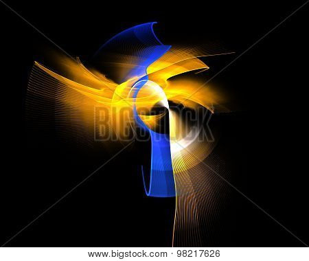 Abstract Fractal Design. Yellow And Blue Curve On Black.