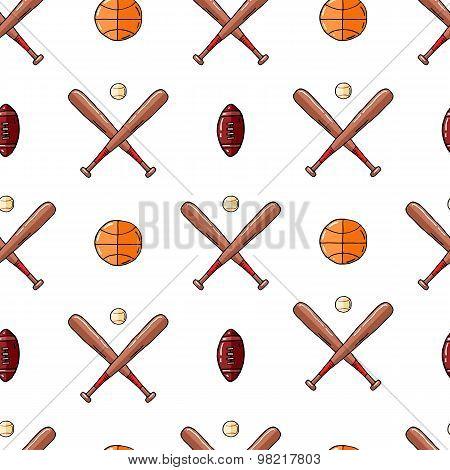 Sports hand drawn seamless background.