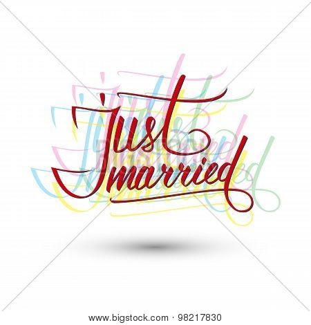 Just Married lettering sign.