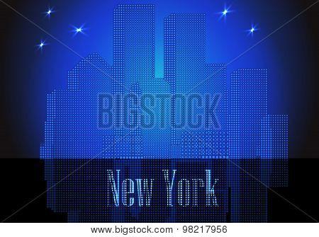 Vector citie silhouette retro New York
