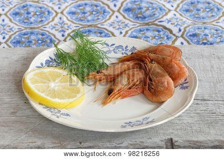 Plate Of Shrimp, Lemon And Dill