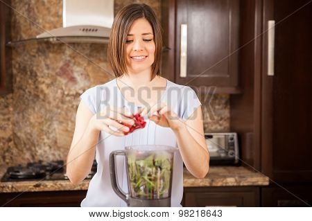 Making A Healthy Juice In The Blender