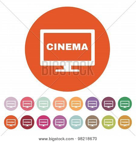 The cinema icon. Television and tv, movie, film symbol. Flat