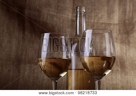 Bottle And Glasses With Wine