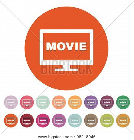 The movie icon. Television and tv, cinema, film symbol. Flat