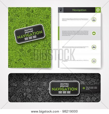 Vector template with hand drawn doodles navigation theme.