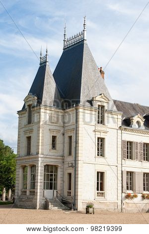 Stone Castle Tower In The Loire Valley France