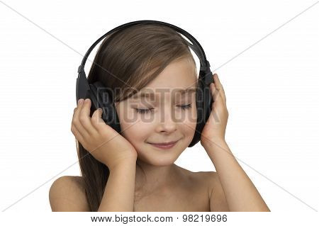 Portrait Of A Posing Young Girl Using A Headset Isolated Over White