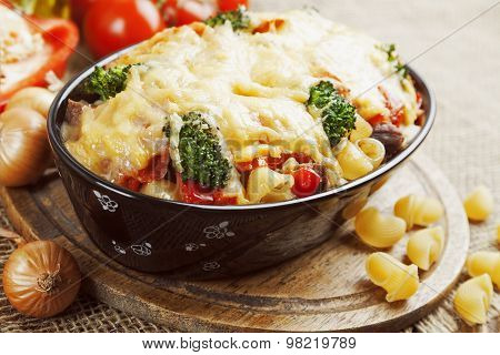 Casserole With Meat, Pasta, Broccoli And Tomatoes