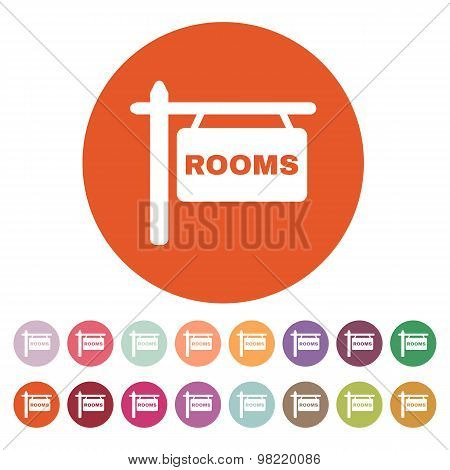 The rooms icon. Hotel symbol. Flat