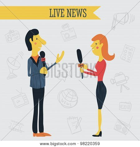 Journalist news reporter interview holding microphones on background of hand drawn mass media icons.