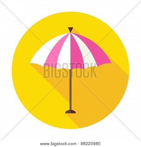 Flat Sun Summer Umbrella Circle Icon With Long Shadow