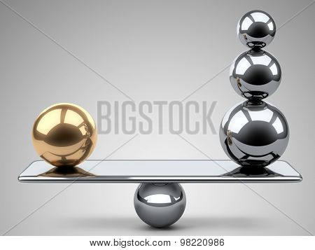 Balance Between Large Gold And Steel Spheres.