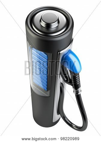 Black Gas Pump - Battery. Use Of Nonconventional Energy Sources.